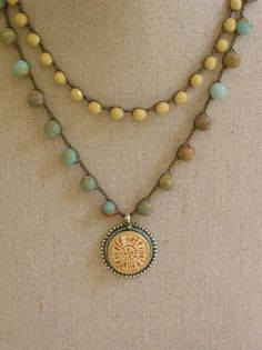 Crochet necklace double strand pendant necklace by 3DivasStudio