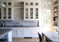 Off White Kitchen Marble Mosaic Backsplash Bristol Circle Soapstone Counters Backsplash For White Cabinets, Glass Front Cabinets, White Kitchen Cabinets, Kitchen Countertops, Backsplash Ideas, Soapstone Counters, Grey Countertops, Mosaic Backsplash, Kitchen Sinks