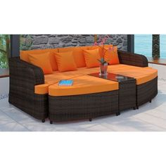 Lowest price online on all Modway Monterey 4 Piece Outdoor Sofa Set in Brown and…
