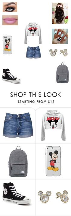 """""""Untitled #115"""" by tasnimkhan-258 ❤ liked on Polyvore featuring Topshop, Herschel Supply Co., Converse and Disney"""