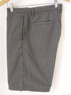 Tommy Bahama Shorts Size 36 Paradise Nation Casual Stripe 100% Cotton Gray Blue #TommyBahama #CasualShorts