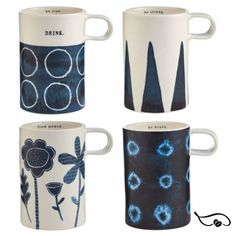 "Rae Dunn new ""tall"" mug shape echoes that of her popular Word mugs, now reinterpreted in bright porcelain. Deep shades of indigo blue start the day with a breath of calm. An inspirational saying makes a surprise appearance on the inside rim. #raedunn #raedunncollector #javamomma #coffeemugs"