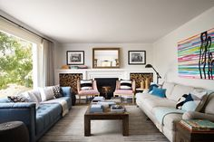 Design pop quiz! Which takes up less space in a living room: A. Two sofas facing each other OR B. A sofa and love seat arranged in the traditional L-shaped arrangement? And the answer is...