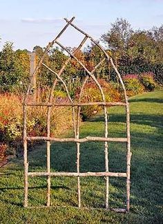 Made from found twigs/branches. Lovely and rustic for veg garden, much prettier than an ordinary trellis Made from found twigs/branches. Lovely and rustic for veg garden, much prettier than an ordinary trellis Diy Trellis, Garden Trellis, Trellis Ideas, Lattice Ideas, Clematis Trellis, Arch Trellis, Bamboo Trellis, Trellis For Sale, Wisteria Trellis