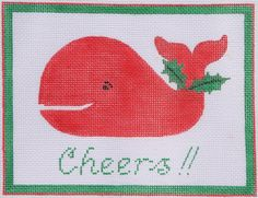 "Kate Dickerson Needlepoint ""Cheers!"" Christmas whale door hanger or pillow insert"