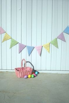 Easter Photography Prop Burlap Banner in Pastel Colors / Baby Shower Decoration. $25.00, via Etsy.