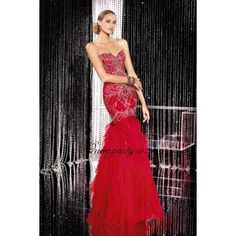 Red Sweetheart Mermaid Long Prom Dress With Layer Skirt