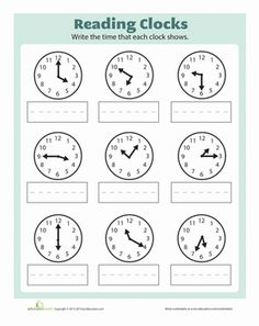 Work on telling time with your first grader. She'll write out the digital time that's shown on each analog clock.