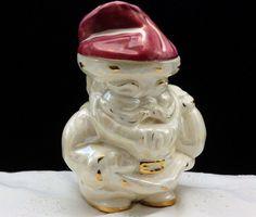 Vtg SANTA CLAUS Lusterware Christmas Candy Mug CALIFORNIA Pottery Kay Finch…