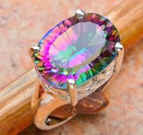 Chic 8 ctw Genuine Mystic Topaz Ring~925 SS~HUGE Sale! Hurry!
