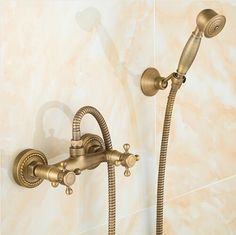 New Arrival Classic Antique Brass Wall Mounted Shower Sets Handshower Wholesale Cheap Shower Faucet Set SF1001