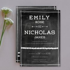 i love farm weddings | Chalkboard inspired wedding invitations | http://www.ilovefarmweddings.com