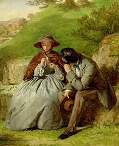 Lovers in a green field, by William Powell Frith (British, 1819-1909).