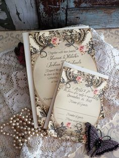 Vintage Romantic Wedding Invitation Handmade by AVintageObsession, $89.95