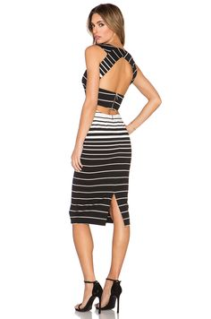 NICHOLAS Corsica Stripe Deep V Dress in Black & White