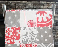Patchwork+Baby+Blanket+Modern+Baby+Quilt++Coral+by+GiggleSixBaby,+$90.00