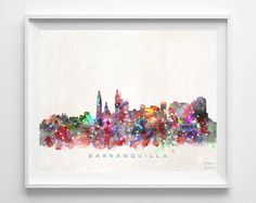 Barranquilla Skyline Print, Colombia Art, Barranquilla Poster, Colombia Cityscape, Home Decor, Giclee, Bed Room Decor, Back To School