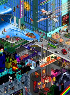 "Tribute — Pixel Art Poster by Matej ""Retro"" Jan  ""It's a tribute to all my childhood memories as well as recent cool things that have left a mark in my life."""