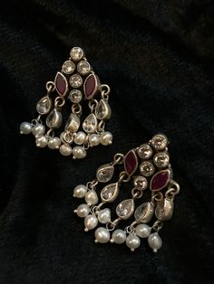 Visit the post for more. Gold Jhumka Earrings, Jewelry Design Earrings, Antique Earrings, Designer Earrings, Silver Jewellery Indian, Indian Wedding Jewelry, Temple Jewellery, Silver Jewelry, Silver Ring