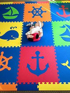 "Amazon.com - SoftTiles Nautical Ocean Theme Kids Interlocking Foam Playmat Blue and White 78"" x 78"" -"