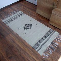 White kilim rug with boho motifs, bohemian handwoven wool rug, home decor floor rug, kilim rug, boho home decor rug, boho rug, 2' by 4' rug