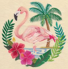 Perfect combination: Palmtrees and flamingo's...