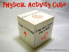 Make a physical activity cube for restless kids. 25 Clever Classroom Tips For Elementary School Teachers Gross Motor Activities, Gross Motor Skills, Toddler Activities, Preschool Activities, Movement Activities, Preschool Class, Indoor Activities, Indoor Games, Physical Activities For Preschoolers