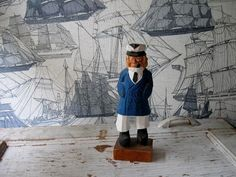 Vintage Hand Carved Sailor Man with Pipe by jonscreations on Etsy, $12.00