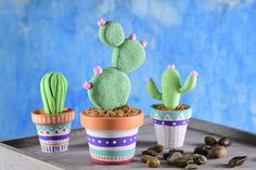 Deco Cactus, Cactus Decor, Crafts To Make, Fun Crafts, Crafts For Kids, Tissue Paper Flowers, Clay Flowers, Polymer Clay Crafts, Diy Clay