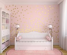 "Metallic Gold Wall Decals Polka Dots Wall Decor - 1"", 1.5"",2"",2.5"",3"", 3.5"", 4"" Polka Dot Wall Decal #GoldBedding"
