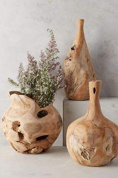 Teak Bottle Vase