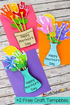 Adorable Mother's Day handprint craft and Free Template for children to make: You can choose a flower pot or a flower vase to put handprint flowers in that were made by Mom's favorite kids