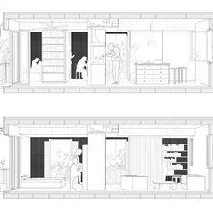 Wohnhaus in Poblenou, Cierto Estudio - BETA - Zean Macfarlane - Architektur Collage Architecture, Architecture Design, Architecture Graphics, Architecture Visualization, Architecture Student, Architecture Drawings, Architecture Diagrams, Sectional Perspective, Section Drawing
