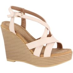 Atrevida Nude Crisscross Shakia Wedge Sandal ($15) ❤ liked on Polyvore featuring shoes, sandals, wedges, criss cross wedge sandal, high heel wedge sandals, nude wedge sandal, nude sandals and nude wedge shoes