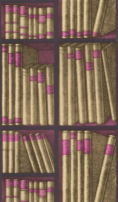 Cole & Son Fornasetti II bookcase wallpaper, purple and gold -available through Lee Jofa