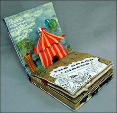 """""""Circus"""" mixed media book / Have each party guest make a different circus image to create a pop-up book for the birthday child."""