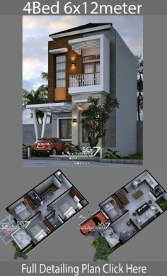 4 Bedrooms Home design plan - Home Design with Plansearch 3 Storey House Design, Bungalow House Design, House Front Design, Small House Design, Modern House Design, Duplex Design, House Layout Plans, Duplex House Plans, Modern House Plans