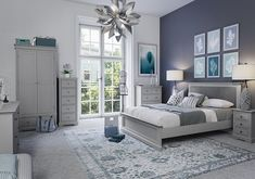 Get inspired by Modern Bedroom Design photo by Wayfair Home. Wayfair lets you find the designer products in the photo and get ideas from thousands of other Modern Bedroom Design photos. Room Ideas Bedroom, Bedroom Colors, Dream Bedroom, Home Decor Bedroom, Bedroom Bed, Large Bedside Tables, Grey Painted Furniture, Modern Bedroom Design, New Room
