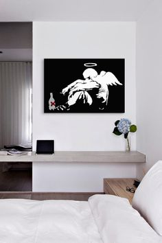 Drunken Angel #2 by Banksy Canvas Print//