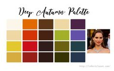 Deep Autumn, Dark Autumn or Deep Warm is a striking, deep and warm palette.
