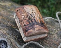 Coptic stitched Rustic wood journal Maedow van crearting op Etsy