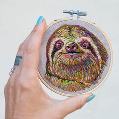 """4,974 Likes, 118 Comments - Danielle Clough (@fiance_knowles) on Instagram: """"I'm glad I share a planet with sloths.  #embroidery #sloth"""""""