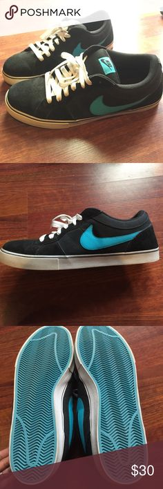Men's Nike black and teal shoes Size 15. In excellent condition. Hardly been used. Nike Shoes Sneakers