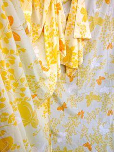70's Vera Neumann Yellow and Orange Butterflies by ElkHugsVintage, $25.00