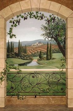 Mediterranean Home Trompe L'oeil. I need this painting its everything I love, vineyards and all