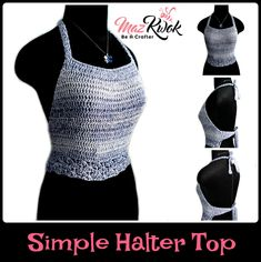 Learn how to crochet an easy halter top with light cotton yarn and simple crochet stitches in this free crochet pattern written in US terms.