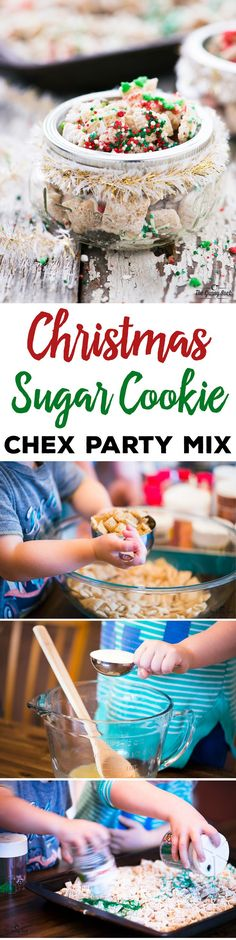 This Christmas Sugar Cookie Chex Party Mix recipe is a fun way to get kids in the kitchen! Put in mason jars for homemade gifts for teachers and bus drivers. Christmas Party Snacks, Christmas Sweets, Christmas Cooking, Holiday Treats, Christmas Crunch, Christmas Ideas, Christmas Gifts, Christmas Candy, Holiday Fun
