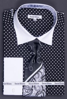 SKU#NAD42 100% Cotton French Cuff Dress Shirt, Tie, Hanky & Cuff Links -Polka Dot Two Tone Black $65 Mens Dress Shirts Dress Shirts & Ties