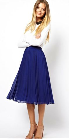 Midi Skirt with Pleats (3 Colors)   this is a fabulous website!