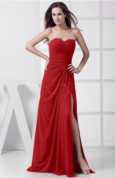 Elegant Sleeveless Chiffon Floor Length Split-Front Bridesmaid Dresses